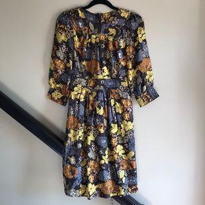 Retro Print Floral Silk Dress 0 EUC